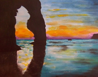 Durdle Door sunset, Lulworth (12 x 16 inches good quality prints of original watercolour panting)