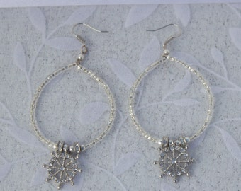 Silver Ships Wheel Hoop Earrings