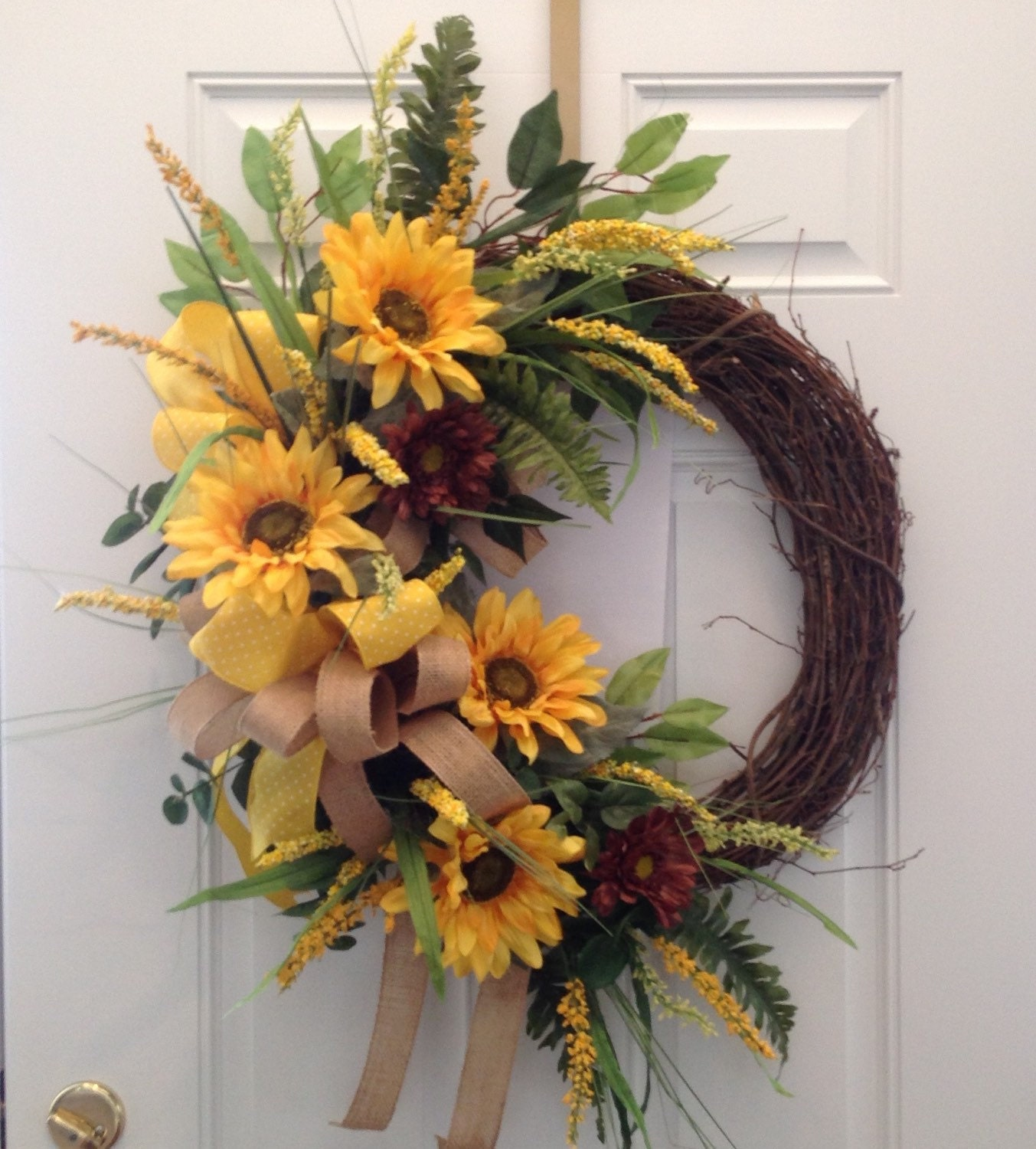 Large Sunflower Wreath Summer Wreath Fall Wreath Sunflower