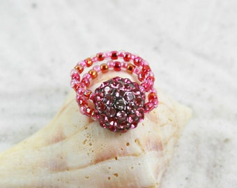 PINK SPARKLE Beaded Toe Ring