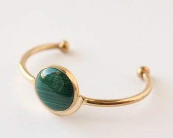 Demi Cuff Bracelet - Handmade Brass and Green Malachite