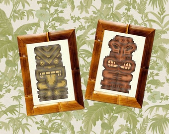 Tiki Cross Stitch Pattern Two Pack