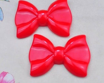 5pcs Large Red Resin Tie Butterfly Knot Flower ,bow bowknot charms--60x43mm