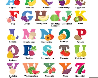 Fruit alphabet | Etsy