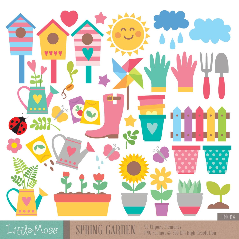 Clip Art Garden Clipart gardening clipart etsy spring garden pot plants ladybug sunflower fence boot bird house flower clipart