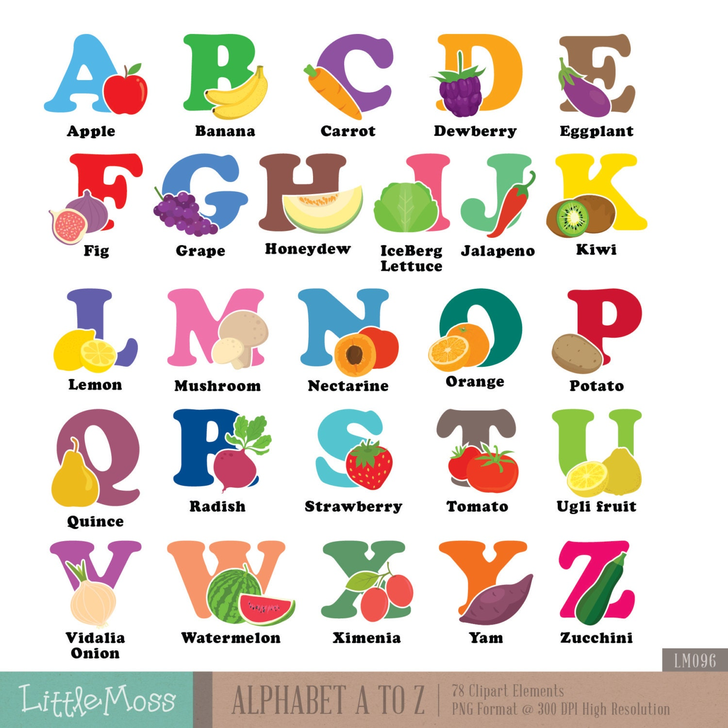 Alphabet A-Z Digital Clipart Vegetable and Fruit Aphabet