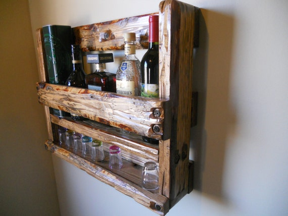 items similar to whiskey rack liquor cabinet rustic wine holder man cave primitive on etsy. Black Bedroom Furniture Sets. Home Design Ideas