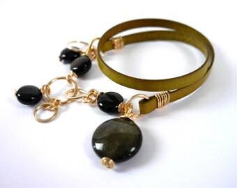 Green Leather & Obsidian Bracelet