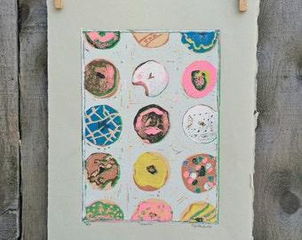 "Donuts, Reductive Color Linocut Print, #6/7, 7.5""x10.5"""