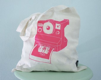 Canvas tote bag with screenprinted polaroid print PINK