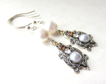 White Baroque Pearl Earrings, Victorian Style, Dainty Crystal and Glass Pearls, Wedding Earrings, Mother of the Bride or Groom