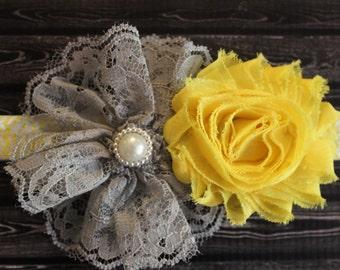 Gray and yellow baby headband, lace shabby chic baby bow