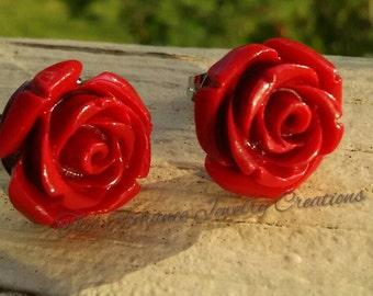 Large Red Rose Earrings