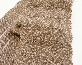 Hand woven alpaca blend scarf with lace detail