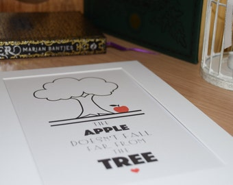 """Apple Tree Print. """"The Apple Doesn't Fall Far From The Tree"""" Typography Poster. Wall Decor"""