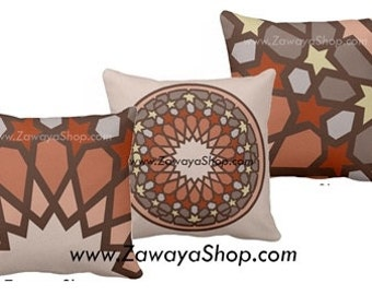 three Decorative pillows earthy home decor Morrocon motifs colors can be customized upon request