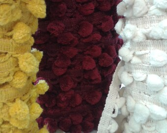 1 3/8 Inch Cotton Fringe With 3/4 Inch Ball - Dark Red, Yellow, White