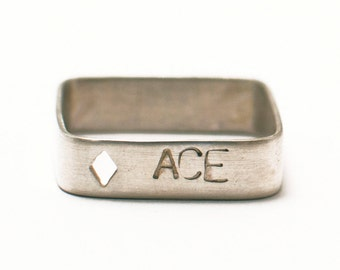 Square engraved ring in solid silver with cut motive Ace of Diamonds