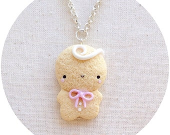 Ginger Gingerbread Man Necklace ~ Cute Gingerbread Neclace Fimo Polymer Clay Pink Bow