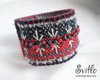 Textile Bracelet | Textile Jewelry | Wearable Art | Textile Fashion | Armlet | Red, White' Dark Blue | Felt and Fiber