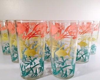 Hazel Atlas - Under The Sea Vintage Glasses (Set of 9)