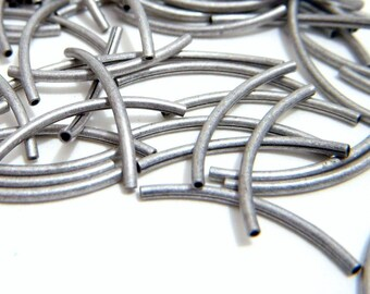 Curved Tube Bead, Antiqued Silver Tube, 20x1mm, 20 each, D215