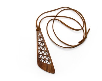 Necklace - Suede Cord with Triangle Walnut Wood Pendent