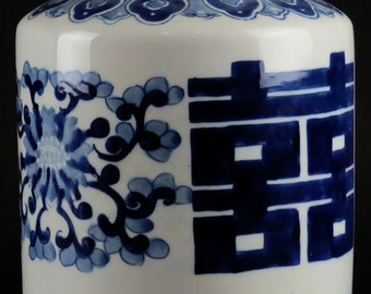 Large Contemporary Chinese Blue and White Barrel Jar