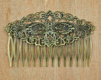 Filigree Hair Comb,50pcs Antique Bronze metal combs,14Teeth Barrette Hair Combs with filigree flower,Hair Accessory,Wedding Hair Comb Blank