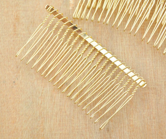20 teeth gold hair combs 50pcs gold plated hair combs for Metal hair combs for crafts