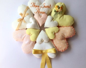 Yellow Hanging Heart Wreath, Home Sweet Home, Shabby Chic Style