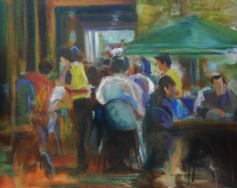 Original painting abstract oil of cafe scene people dining