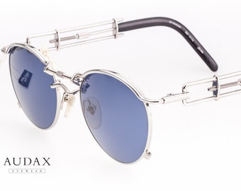 Jean Paul Gaultier 56-0174 rare round steampunk sunglasses with silver metal frames and blue lenses / mechanical temples / made in Japan 90s
