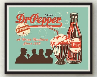 Vintage Dr. Pepper red white turquoise wall art decor photo print