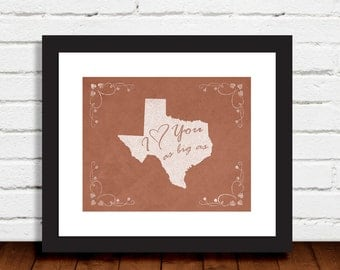 I Love You As Big As Texas Brown Blue Green Purple Colors Print Wall Art Decor Photo Print