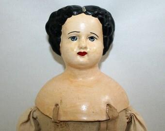 """Antique 20"""" Doll Papier Mache 1880s"""