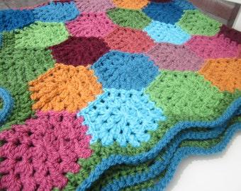 Crochet Baby Blanket * Happy Hexagons * Nursery * Granny Square Style Hexagon Blanket * Baby Shower Gift Present * Ready to Ship