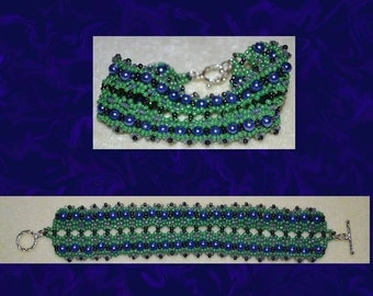 Wide beaded bracelet, handmade, blue, purple, green, black