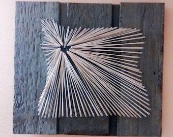 Oregon String Art on Blue/Gray Siding