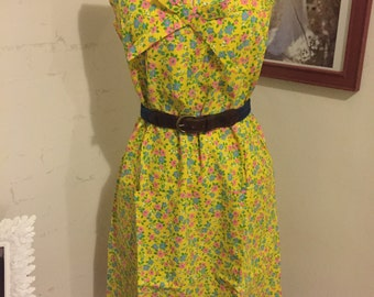 1960's yellow floral shift dress size 12