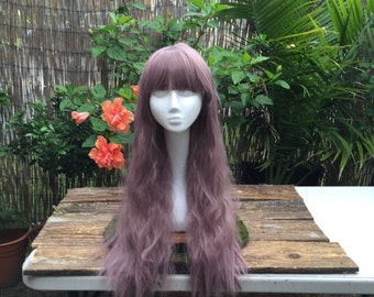 Beautiful Harajuku Lolita Grey-Lavender Fluffy Curly Wig with Bangs Great for Costumes, Cosplay, Festivals, and other occasions