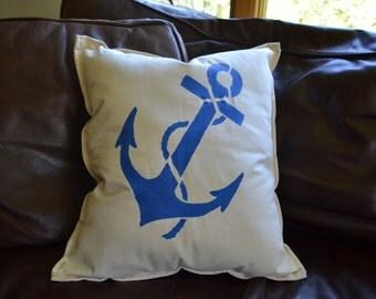 Nautical Pillow Anchor Beach Ocean Decor