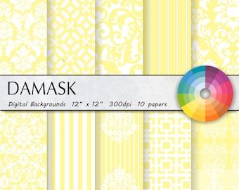 Yellow damask digital paper Yellow digital paper Yellow damask digital paper Yellow damask digital paper Yellow damask digital paper 10pk