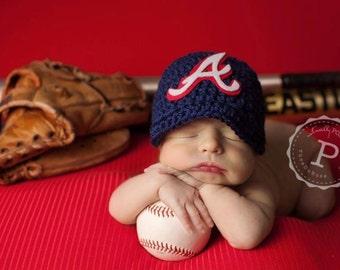Atlanta Braves Hand Crochet Baseball cap,Baby Cap,newsboy hat,Newborn Photo Prop,,, choose your team