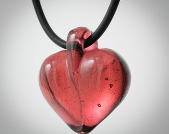 Kiln cast crystal red heart pendant on 16 inch 2mm rubber cord with sterling silver clasp. SALE 75.00 for the month of June