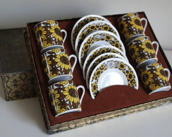 Vintage 70' set of 6 expresso cups and 6 saucers yellow and brown flowers