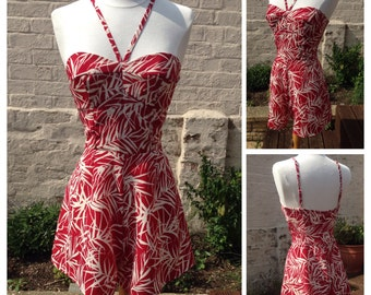 Red and White 50s inspired Playsuit / Romper