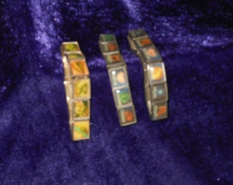 3 CHARM LINK BRACELETS in Different  Patterns and Colors Excellent Condition