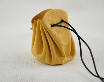 Leather coin pouch / purse / sack