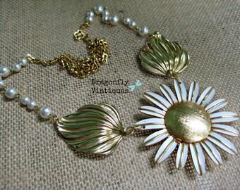 Vintage Statement Necklace,Vintage Brooch,Vintage Earrings,Vintage Beads,Black,Repurposed,Upcycled,Reclaimed,Vintage Assemblage, Flower / 22